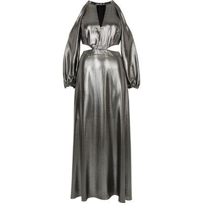 Zilver-metallic schouderloze maxi-jurk