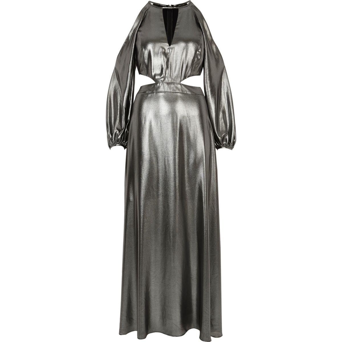 Robe longue argenté métallisé avec épaules dénudées