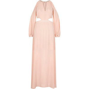 Light pink cold shoulder maxi dress