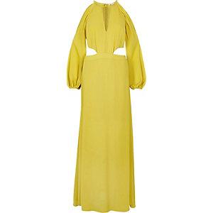 Lime cold shoulder maxi dress