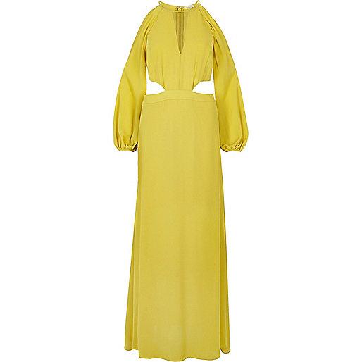 Robe longue jaune citron à épaules dénudées