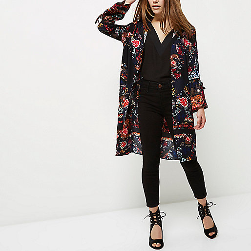 Petite navy blue floral print duster coat