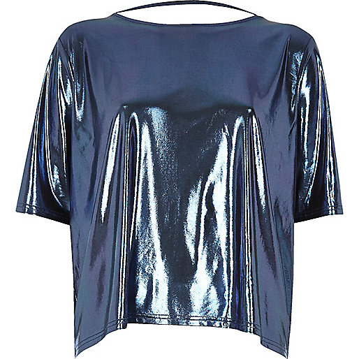 Metallic blue boxy strap back T-shirt