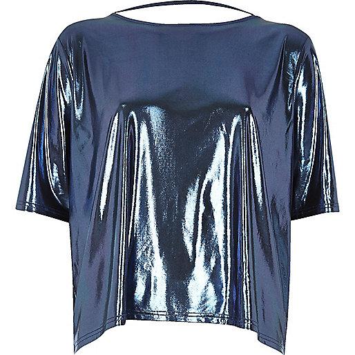 T-shirt carré bleu métallisé à lanières dans le dos