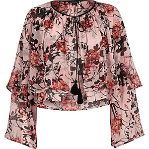 Pink floral layered frill crop top