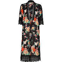 Black floral print lace kimono