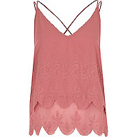 Pink embroidered cross back cami top