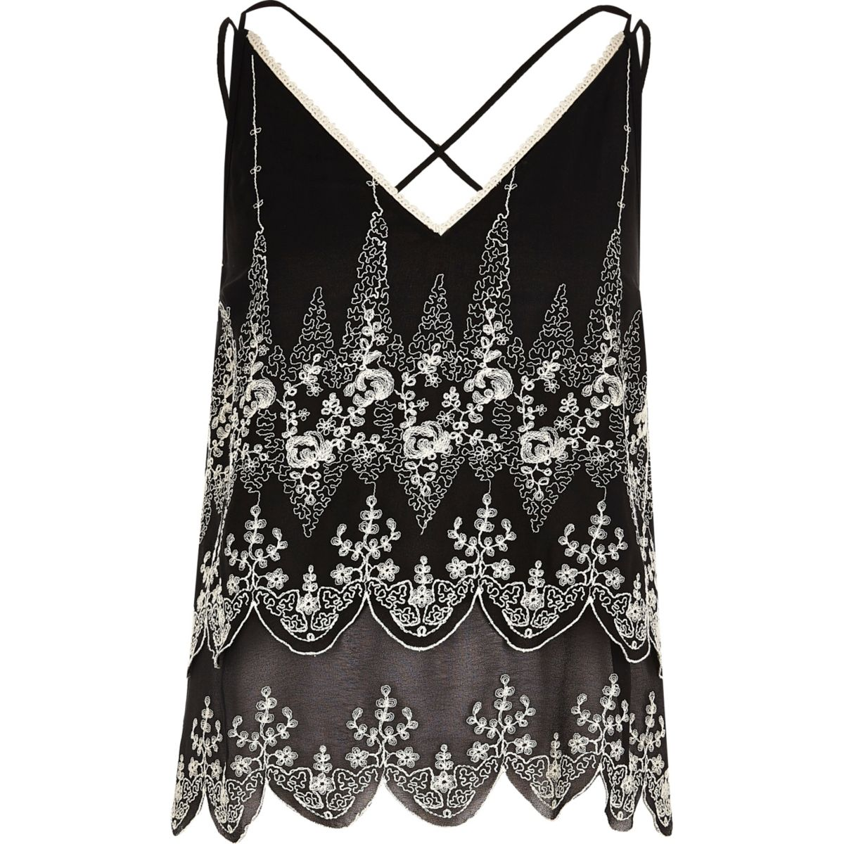 Black embroidered floral cami top