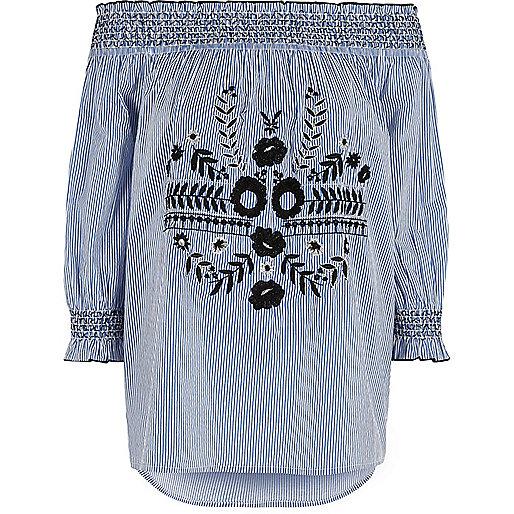 Blue stripe floral embroidered bardot top