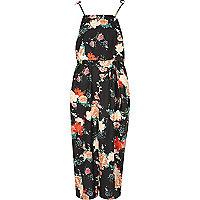 Black floral frill tie strap cami slip dress