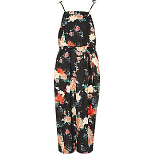 Black floral frill tie strap cami slip dress