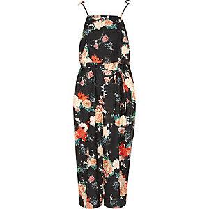Robe caraco motif fleuri noire avec volant et bretelles à nouer