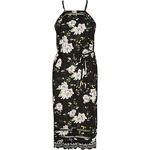 Black floral ladder lace cami slip midi dress