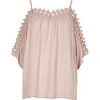 Light pink cold shoulder lace top