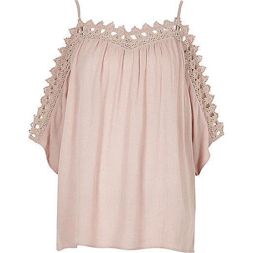 Light pink cold shoulder lace top