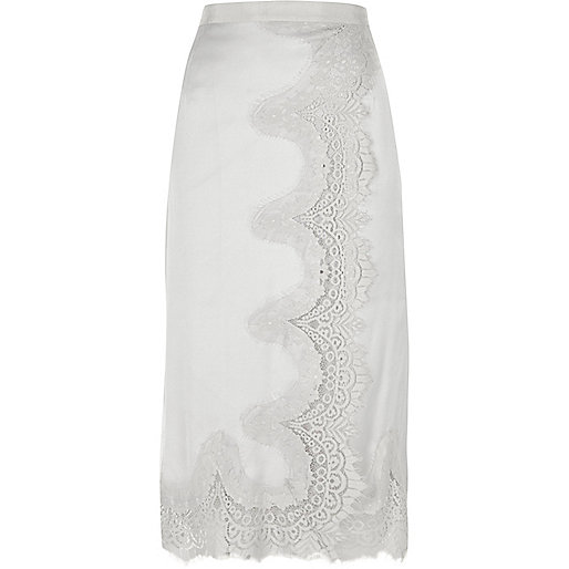Grey scallop lace hem midi skirt