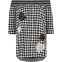 Black gingham floral appliqué bardot top