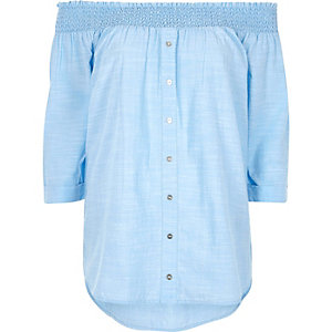 Blue shirred bardot shirt