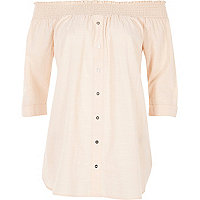 Light pink chambray bardot button front top