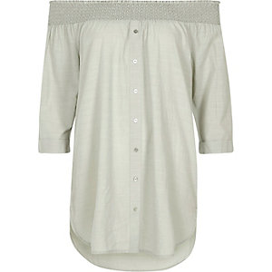 Light grey chambray bardot button front top