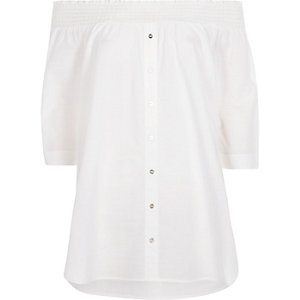 White poplin shirred bardot shirt