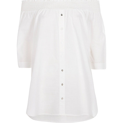 White poplin shirred bardot shirt