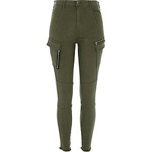 Khaki green skinny combat trousers