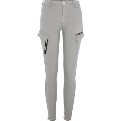 River Island Pantalon coupe skinny gris style militaire