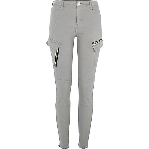Grey skinny fit combat pants