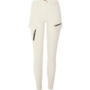 Beige zip pocket skinny combat pants