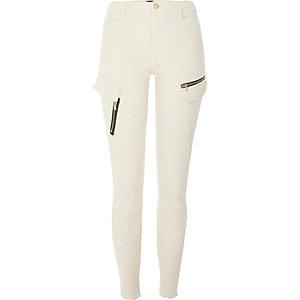 Beige zip pocket skinny combat pants