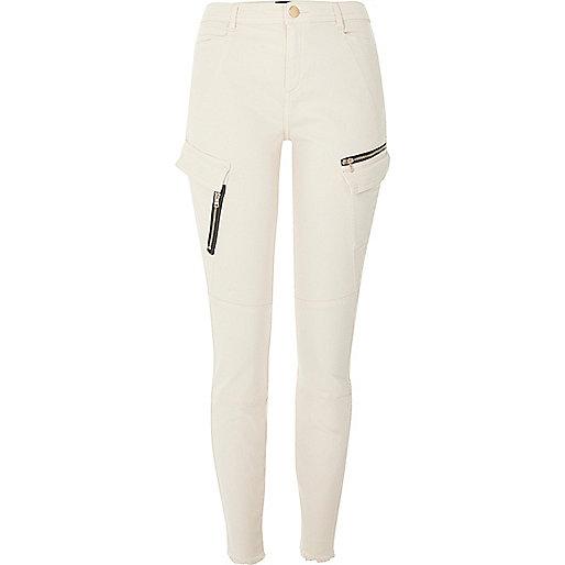Beige zip pocket skinny combat trousers