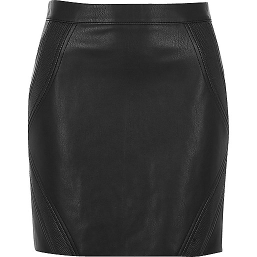 Black snake panel mini skirt