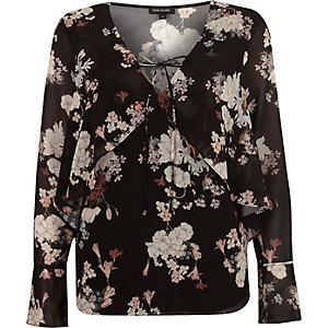 Black floral long sleeve frill top