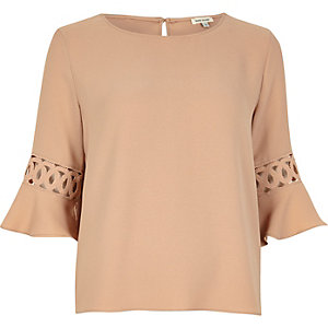 Nude cord insert bell sleeve top