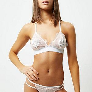 White lace heart applique bra