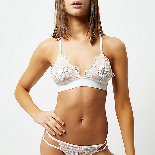 White lace heart applique bra