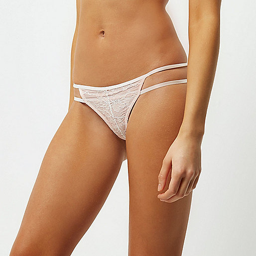 Light pink applique lace thong