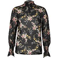 Black floral sheer mesh blouse