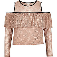 Blush pink cold shoulder deep frill top
