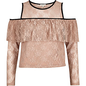 Blush pink cold shoulder deep frill top