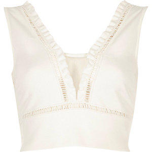 Cream frill detail crop top