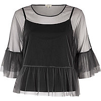 Grey tulle frill sleeve top
