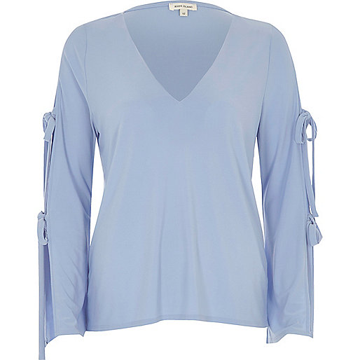 Pale blue tie sleeve V-neck