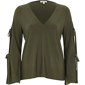 Khaki long sleeve tie sleeve top