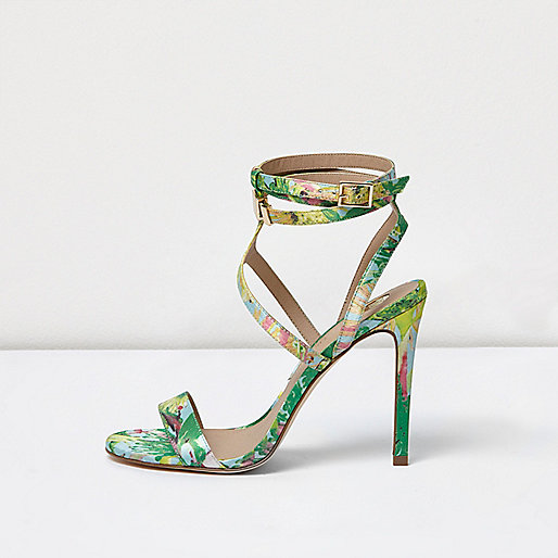 Green floral print caged strappy sandals