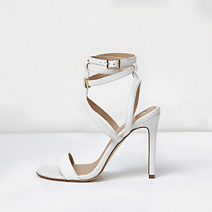 White caged strappy sandals
