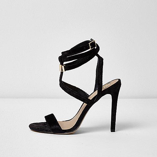 Black cage wrap around sandals