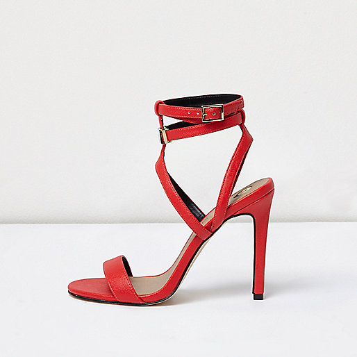 Red caged strappy sandal