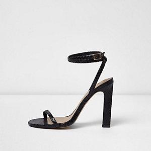 Sandales minimalistes imprimé serpent noires